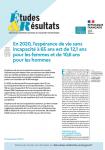 N°1213 - Octobre 2021 - En 2020, l'espérance de vie sans incapacité à 65 ans est de 12,1 ans pour les femmes et de 10,6 ans pour les hommes (Bulletin de Etudes et Résultats, N°1213 [21/10/2021])
